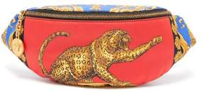 Versace Baroque And Leopard Print Satin Belt Bag - Womens - Red Multi
