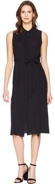 Jil Sander Navy Sleeveless Crepe De Chine Dress Women's Dress