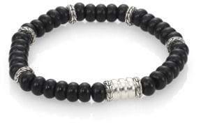 John Hardy Batu Bedeg Sterling Silver Beaded Bracelet/Frosted Black Chalcedony