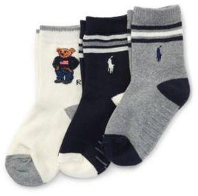Polo Ralph Lauren Bear Trouser Sock 3-Pack Natural/Assorted 5-7