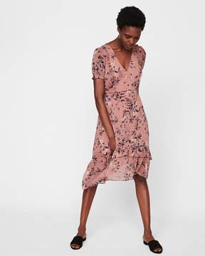 Express Floral Print Ruffle Midi Dress