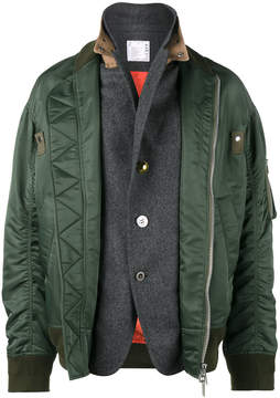 Sacai dual layer nylon bomber jacket