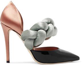 Marco De Vincenzo Braided Velvet, Satin And Patent-leather Pumps - Black