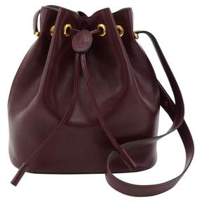 Cartier Vintage Seau Burgundy Leather Handbag