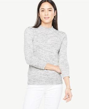 Ann Taylor Marled Puff Sleeve Mock Neck Sweater