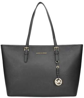 Michael Kors Jet Set Travel Medium Saffiano Leather Top-zip Tote - BLACK - STYLE