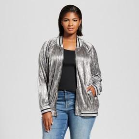 Ava & Viv Women's Plus Size Pleated Metallic Bomber Jacket