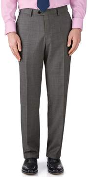 Charles Tyrwhitt Grey Classic Fit End-On-End Business Suit Wool Pants Size W30 L38