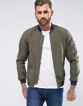Pull&Bear Bomber Jacket In Khaki