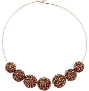 Kenneth Jay Lane Gold Wire Topaz Pave Bead Necklace Necklace