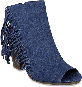Rampage Denim Fringe Peep-Toe Ankle Boot