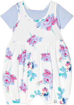 Joules White Floral and Blue Romper Suit and T-Shirt Set