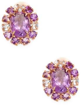 Bounkit Women's Faceted Amethyst & Quartz Bordered Stud Earrings