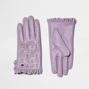 River Island Womens Light purple leather studded frill gloves