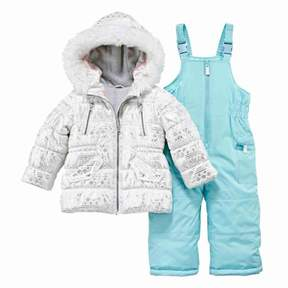 Carter's Infant Girl 2 Piece Snow Bibs Winter Coat Set Snowflake Snowsuit 12m