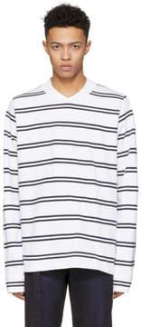 Sacai White and Navy Dixie Stripe Long T-Shirt