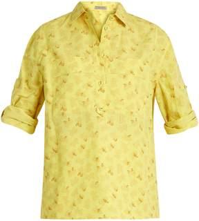 Bottega Veneta Butterfly-print cotton and linen-blend shirt