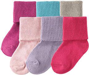 Luvable Friends Pink Cuffed Six-Pair Socks Set