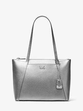 MICHAEL Michael Kors Maddie Medium Metallic Crossgrain Leather Tote