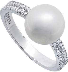 Crislu Platinum Over Silver Freshwater Pearl Cz Ring