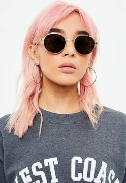 Missguided Gold Round Frame Sunglasses