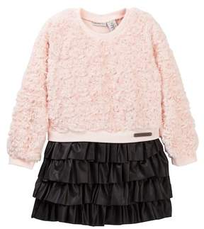 Calvin Klein Faux Fur Bodice & Pleather Skirt Dress (Toddler Girls)