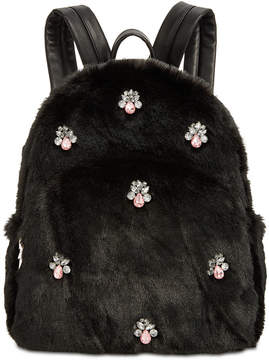 Betsey Johnson Bejeweled Faux-Fur Backpack