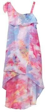 My Michelle mymichelle One Shoulder Dress with Overlapping High-Low Hem (Big Girls)