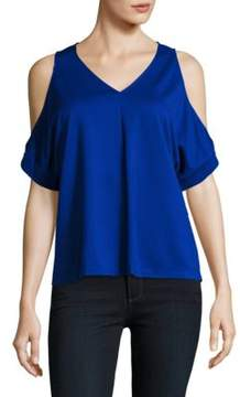 Ellen Tracy Cold-Shoulder V-neck Top