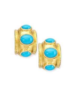 Elizabeth Locke Turquoise Huggie Hoop Earrings
