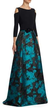 Theia Women's Cold-Shoulder Jacquard Skirt Ball Gown