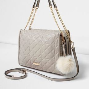 River Island Womens Grey quilted pom pom chain handle tote bag