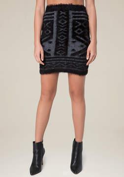 Bebe Tribal Eyelash Miniskirt