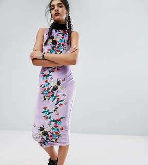 Jaded London Tall Column High Neck Printed Bee Midi Dress