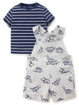 Little Me Baby Boy's Two-Piece Cotton Printed Shortall and Striped Tee Set
