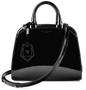Aspinal of London | Mini Hepburn Bag In Deep Shine Black Patent | Deep shine black patent