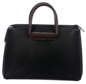 The Row Ostrich-Trimmed Leather Satchel