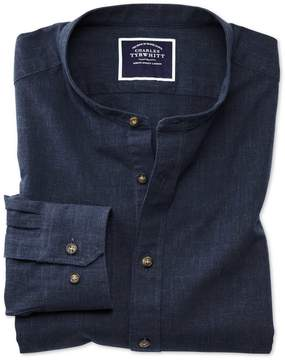 Charles Tyrwhitt Slim Fit Collarless Navy Blue Cotton Casual Shirt Single Cuff Size Large