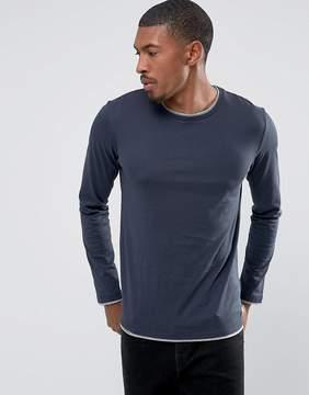 Esprit Long Sleeve T-Shirt with Contrast Hem Details