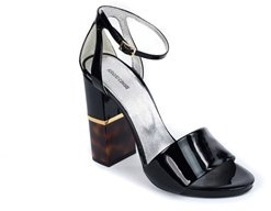 Roberto Cavalli Women Black Patent Leather Ankle Strap Sandal.