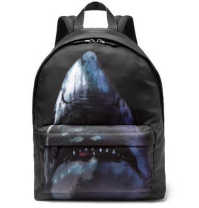 Givenchy Leather-Trimmed Shark-Print Canvas Backpack