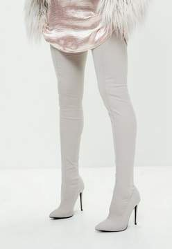 Missguided Gray Pointed Stretch Thigh High Boots