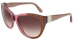 Swarovski Sk0087/s 38f Bronze Shaded Transparent Rose Butterfly Sunglasses.