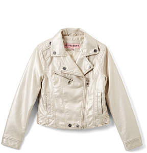 Urban Republic Silver Metallic Faux Leather Moto Jacket - Infant & Toddler