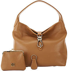 Dooney & Bourke Leather Hobo with Logo Lock and Accessories - ONE COLOR - STYLE
