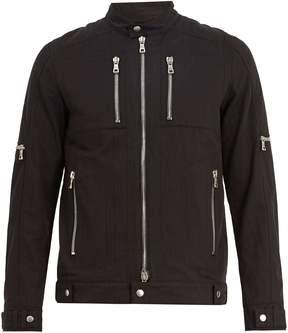 Balmain Linen-blend biker jacket