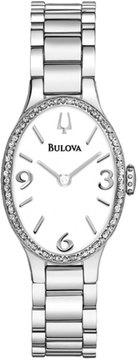 Bulova 21mm Oval Bracelet Watch w/ Diamond Bezel