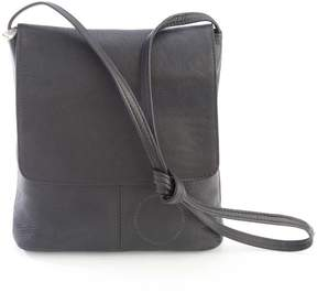 Royce Leather Royce Black Colombian Leather Flap Over Crossbody Bag