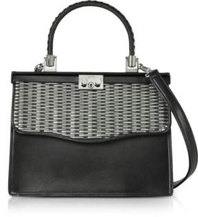 Rodo Silver and Black Woven Leather Top Handle Satchel Bag
