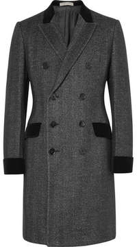 Bottega Veneta Double-Breasted Herringbone Wool And Silk-Blend Overcoat